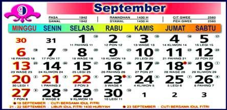 Kalender September 2009