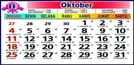 Hasil gambar untuk gambar kalender bulan oktober