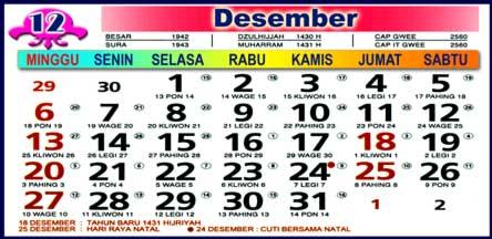 Kalender Desember 2009